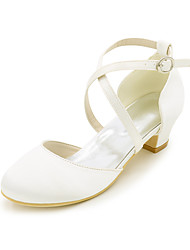 cheap -Girls' Heels Flower Girl Shoes Satin Little Kids(4-7ys) Big Kids(7years +) Party & Evening White Ivory Spring Summer