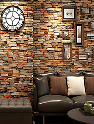 cheap -3D Brick Pattern PVC Self-adhesive Wallpaper Wall Sticker 45*500cm