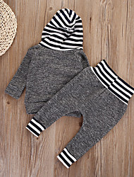 cheap -Baby Girls' Basic Print Ruffle Long Sleeve Regular Clothing Set Gray