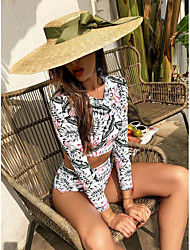 cheap -2021 new bikini european and american swimsuit long-sleeved swimsuit leaf print wetsuit high waist swimsuit manufacturer
