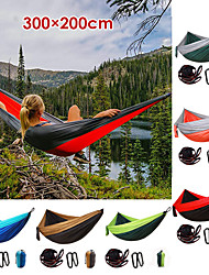 cheap -Camping Hammock Outdoor Ultra Light (UL) Breathability Wearable Quick Dry Parachute Nylon with Carabiners and Tree Straps for 2 person Fishing Camping Black Blue Red 300*200 cm