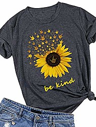 cheap -yssgtt be kind sunflower t-shirt women cute funny graphic tee teen girls casual short sleeve shirt tops grey