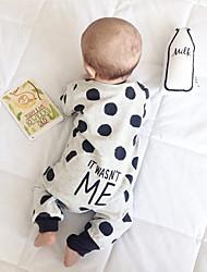 cheap -Baby Girls' Active Polka Dot Print Long Sleeve Romper White