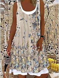 baratos -Mulheres Vestido A Line Vestido no Joelho Rosa Claro Azul Claro Verde 1 Preto. Bege Sem Manga Floral Estampa floral Primavera Verão Decote Redondo Casual 2021 S M L XL XXL