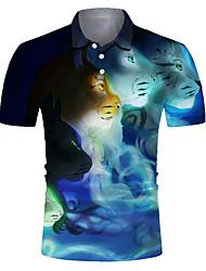 cheap -Men's Golf Shirt 3D Print Leopard Animal Button-Down Short Sleeve Street Tops Casual Fashion Cool Breathable Blue / Sports