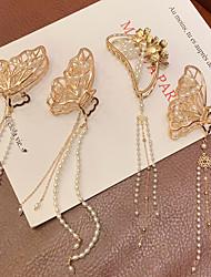 cheap -three-dimensional butterfly tassel metal catch clip large pearl hair clip back head disc hair shark clip girl super fairy hair accessories