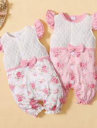 cheap -Baby Girls' Basic Floral Bow Print Short Sleeves Romper White Blushing Pink