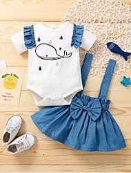 cheap -Baby Girls' Basic Animal Print Short Sleeve Knee-length Dress White