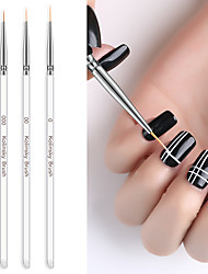 cheap -3Pcs/set Gel Nail Art Line Painting Brushes Double-ended Nail Pen Transparent Crystal Acrylic Thin Liner Drawing Pen Nail Art Manicure Tools Set