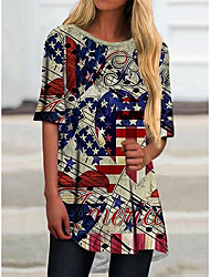 cheap -Women's T shirt American Flag National Flag Round Neck Basic Tops Blue