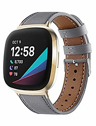 cheap -Smart watch band leather bands compatible with fitbit versa 3/sense smart watch genuine leather replacement wristbands classic adjustable strap bracelet women men with stainless metal buckle (gray)