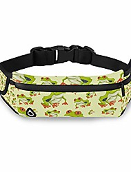 cheap -lightweight fanny pack red eyed tree frog seamless pattern night running belt adjustable band runners waist bag for workout vacation hiking travelling for men, women, boys, girls with headphone jack