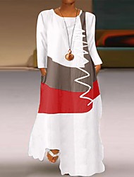 cheap -Women's Plus Size Dress Swing Dress Maxi long Dress Long Sleeve Solid Color Patchwork Casual Fall & Winter