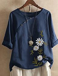 cheap -Women's Plus Size Tops Blouse Shirt Floral Short Sleeve Round Neck Spring Summer Dark Blue Big Size L XL XXL XXXL 4XL