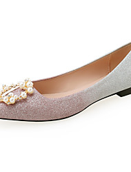 cheap -Women's Flats Flat Heel Pointed Toe Gleit Pearl Color Block Pink Gold
