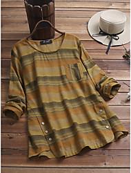 cheap -Women's Plus Size Tops Blouse Shirt Stripe Pocket Long Sleeve Round Neck Spring Summer Gray khaki Big Size L XL XXL 3XL 4XL