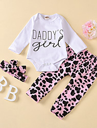 cheap -Baby Girls' Active Leopard Print Long Sleeve Regular Regular Clothing Set White
