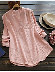 cheap -Women's Plus Size Tops Blouse Shirt Plain Long Sleeve V Neck Spring Summer White Blue Blushing Pink Big Size L XL 2XL 3XL 4XL