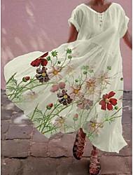 cheap -Women's A Line Dress Maxi long Dress White Short Sleeve Pattern Summer Casual 2021 S M L XL XXL XXXL