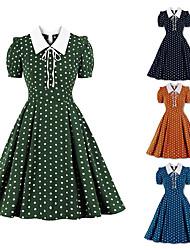 cheap -Audrey Hepburn Polka Dots 1950s Vintage Vacation Dress Dress Rockabilly Prom Dress Women's Costume Blue / Green / Orange Vintage Cosplay Homecoming Prom Short Sleeve Knee Length