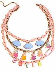 cheap -multilayer resin gummy cartoon bear butterfly pendant necklace colorful transparent acrylic animal link chain necklace cute cloud choker necklace for women girls party jewelry gift - cutie