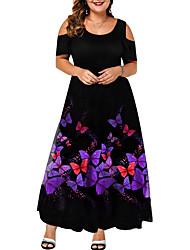 cheap -Women's Plus Size Dress Swing Dress Maxi long Dress Short Sleeve Butterfly Animal Print Elegant Spring Summer Purple L XL XXL 3XL 4XL