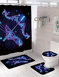 cheap -Bathroom Shower Curtain and Mat Set White Modern Polyester Waterproof