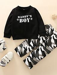 cheap -2 Pieces Baby Boys' Casual Black & Gray Camo / Camouflage Print Long Sleeve Regular Sweatshirt & Pants Clothing Set Black
