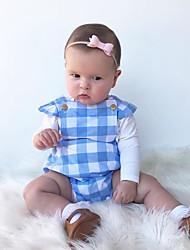 cheap -Baby Girls' Active Plaid Print Short Sleeves Romper Blue