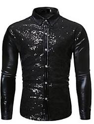 cheap -men's casual shirts shiny black sequin nightclub shirt 2021 brand slim fit party wedding glitter men dress stage singer prom costume
