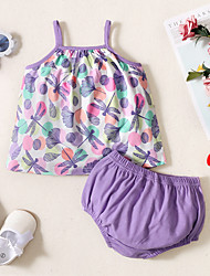 cheap -Baby Girls' Basic Print Sleeveless Regular Clothing Set Purple