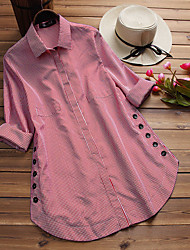 cheap -Women's Plus Size Tops Blouse Shirt Check Button Long Sleeve Shirt Collar Spring Summer Blue Black Red Big Size L XL XXL XXXL 4XL