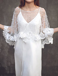 cheap -3/4 Length Sleeve Cute Tulle Wedding / Wedding Party Women's Wrap With Beading / Appliques / Solid