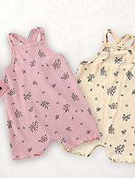 cheap -Baby Girls' Active Basic Floral Print Sleeveless Romper Blushing Pink Beige