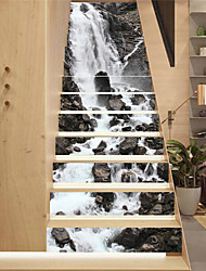 cheap -Creative 13 Pieces Of Norwegian Trollstigen Waterfalls Scenery Staircase Stickers Renovation Repair Stickers Decorative Self-adhesive Wall Stickers