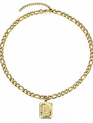 cheap -hermah gold plated initial letter l choker collar necklace for women girls stainless steel figaro chain alphabet name letter charm choker length adjustable