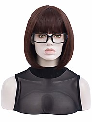 cheap -halloweencostumes Short Straight Flip in Halloween Costume Women Brown Wig  Black Glasses Frame