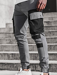 cheap -Men's Sporty Casual / Sporty Streetwear Quick Dry Breathable Soft Pants Chinos Trousers Daily Sports Pants Color Block Full Length Drawstring Elastic Waist Grey Khaki Orange White Black
