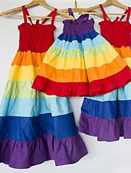 cheap -Mommy and Me Rainbow Flounce Hem Sling Dresses