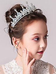 cheap -Kids Baby Girls' Girls Princess Performance Hair Accessories Children Crystal Crown Japanese And Jewelry Headband Super Meng Cute Hair Card Birthday Gift