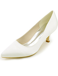 cheap -Women's Wedding Shoes Kitten Heel Pointed Toe Satin Satin Flower Solid Colored White Purple Red