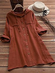 cheap -Women's Plus Size Tops Blouse Shirt Plain Short Sleeve Hoodie Spring Summer Purple Yellow khaki Big Size L XL XXL XXXL 4XL