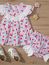 cheap -2 Pieces Baby Girls' Basic Floral Print Short Sleeve Regular Shorts Sets Clothing Set Blushing Pink