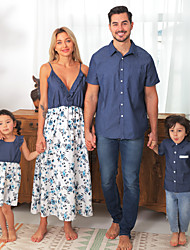 cheap -Family Floral Flounce Tank Dresses - Denim Tops - Rompers Matching Cotton Sets