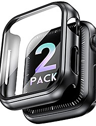 cheap -marge plus 2 pack hard case for apple watch series 3/2/1 38mm with screen protector, slim bumper touch sensitive full coverage case thin cover compatible with iwatch 38mm