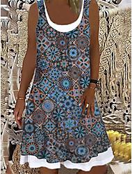 cheap -Women's A Line Dress Knee Length Dress Photo Color Blue Sleeveless Print Spring Summer Casual / Daily 2021 S M L XL XXL XXXL