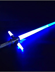 cheap -Light Up Sword Cross LED Glow Sticks Telescopic Light Sabers with Battle Sound Collapsible Lightsaber Toy Gift for Kids AdultsBlue/Green/Red