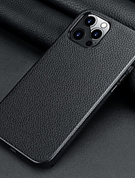 cheap -Genuine Leather Phone Case For iPhone 12 Pro Max 11 Pro Max Shockproof Dustproof Frosted Solid Colored Camera Protection Back Cover