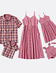 cheap -Family Solid Sling Dresses - Plaid Tops - Rompers Matching Sets