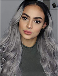 cheap -Long Wavy Natural Dark Root to Silver Gray 2 Tones Right Side Parting Hand Tied Hairline Heat Resistant Replacement Wig